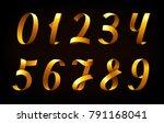 golden ribbon numbers. set of... | Shutterstock .eps vector #791168041