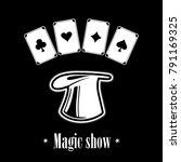 magic hat  with playing cards . ... | Shutterstock .eps vector #791169325