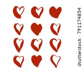 red hand drawn hearts. ink... | Shutterstock .eps vector #791174854