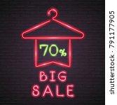 big sale neon light glowing and ... | Shutterstock .eps vector #791177905