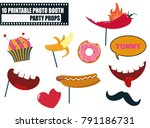 colorful photo booth food props ... | Shutterstock .eps vector #791186731