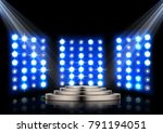 stage podium with spotlights on ...   Shutterstock .eps vector #791194051