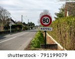 a limit speed at 80 km h on the ... | Shutterstock . vector #791199079