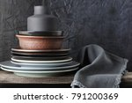 stack of neutral colored... | Shutterstock . vector #791200369