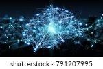 human brain digital x ray on... | Shutterstock . vector #791207995