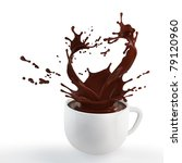 splash of brown hot chocolate in white porcelain cup - stock photo