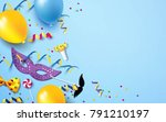 carnival background flat lay.... | Shutterstock .eps vector #791210197
