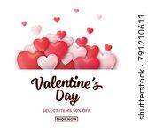 valentines day sale background... | Shutterstock .eps vector #791210611