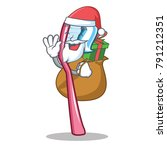 santa with gift toothbrush... | Shutterstock .eps vector #791212351