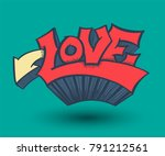 arrow and love doodle 3d style. ... | Shutterstock .eps vector #791212561