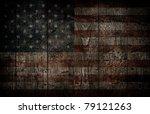 American Flag Painted On Woode...