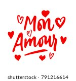 mon amour lettering  hearts... | Shutterstock .eps vector #791216614