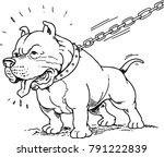 draw of angry pit bull