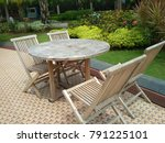 garden wood chair in the... | Shutterstock . vector #791225101