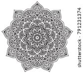 black and white mandala vector... | Shutterstock .eps vector #791231374