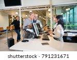 senior businesswoman talking... | Shutterstock . vector #791231671