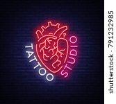 tattoo studio logo  neon sign ... | Shutterstock .eps vector #791232985