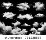 white clouds set isolated on... | Shutterstock . vector #791238889