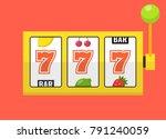 golden slot machine with lucky... | Shutterstock .eps vector #791240059