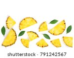 sliced pineapple with green... | Shutterstock . vector #791242567