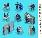 isometric hacking activity... | Shutterstock .eps vector #791252437