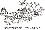 horse pulls cart with sacks | Shutterstock .eps vector #791253775