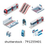 isometric metro elements... | Shutterstock .eps vector #791255401