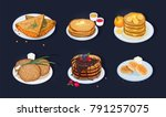 collection of fried pancakes ... | Shutterstock .eps vector #791257075