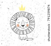 hand drawn king lion for kids t ... | Shutterstock .eps vector #791259874