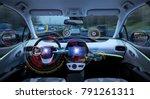 futuristic car cockpit.... | Shutterstock . vector #791261311
