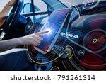 futuristic car cockpit and... | Shutterstock . vector #791261314