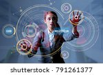 young woman and head up display.... | Shutterstock . vector #791261377