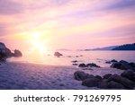 beach sunset background | Shutterstock . vector #791269795
