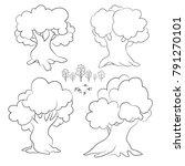 set of cartoon contour trees ... | Shutterstock .eps vector #791270101