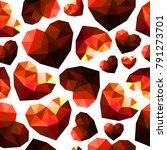 seamless pattern of red diamond ... | Shutterstock .eps vector #791273701