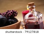 hot stones and essential oil. - stock photo