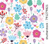 vector pattern with flowers ...   Shutterstock .eps vector #791279821