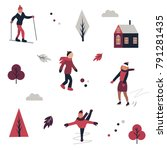 winter sports pattern with... | Shutterstock .eps vector #791281435