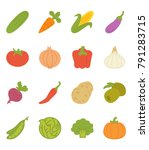 vegetables flat icon pack | Shutterstock .eps vector #791283715