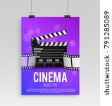 realistic color cinema poster... | Shutterstock .eps vector #791285089