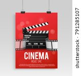 realistic red cinema poster in... | Shutterstock .eps vector #791285107