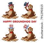 hapy groundhog day. funny...   Shutterstock .eps vector #791290315