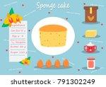 sponge cake vector.ingredient... | Shutterstock .eps vector #791302249