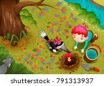 woodpecker and the boy are... | Shutterstock .eps vector #791313937