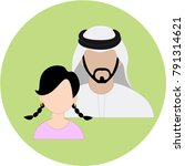 emirate daughter   father | Shutterstock .eps vector #791314621
