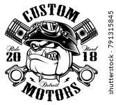 bulldog biker with crossed... | Shutterstock . vector #791315845