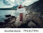 beautiful boho styled model... | Shutterstock . vector #791317591