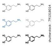 dopamine molecular structural... | Shutterstock .eps vector #791318014
