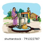 indian village with hand pump | Shutterstock .eps vector #791322787