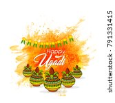 ugadi with beautiful background | Shutterstock .eps vector #791331415